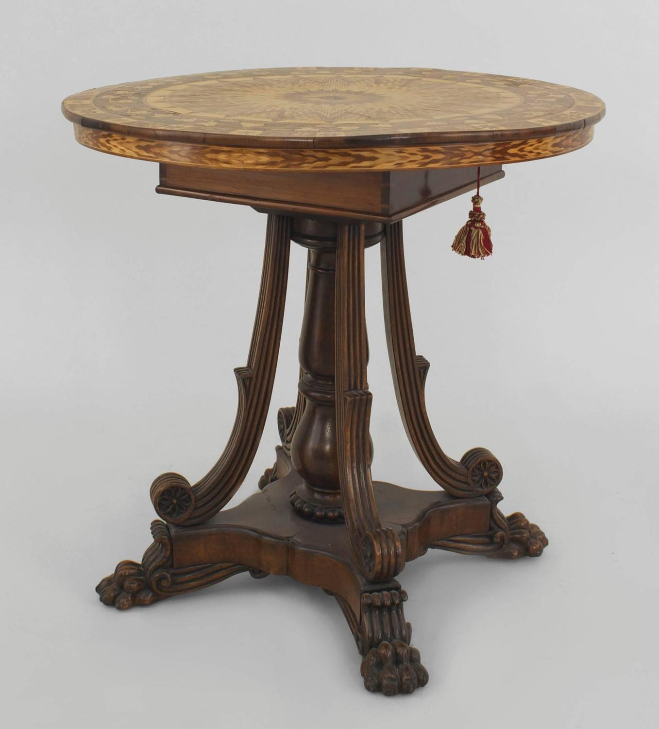 Mid 19th century english regency style marquetry flip top for Table th rotate