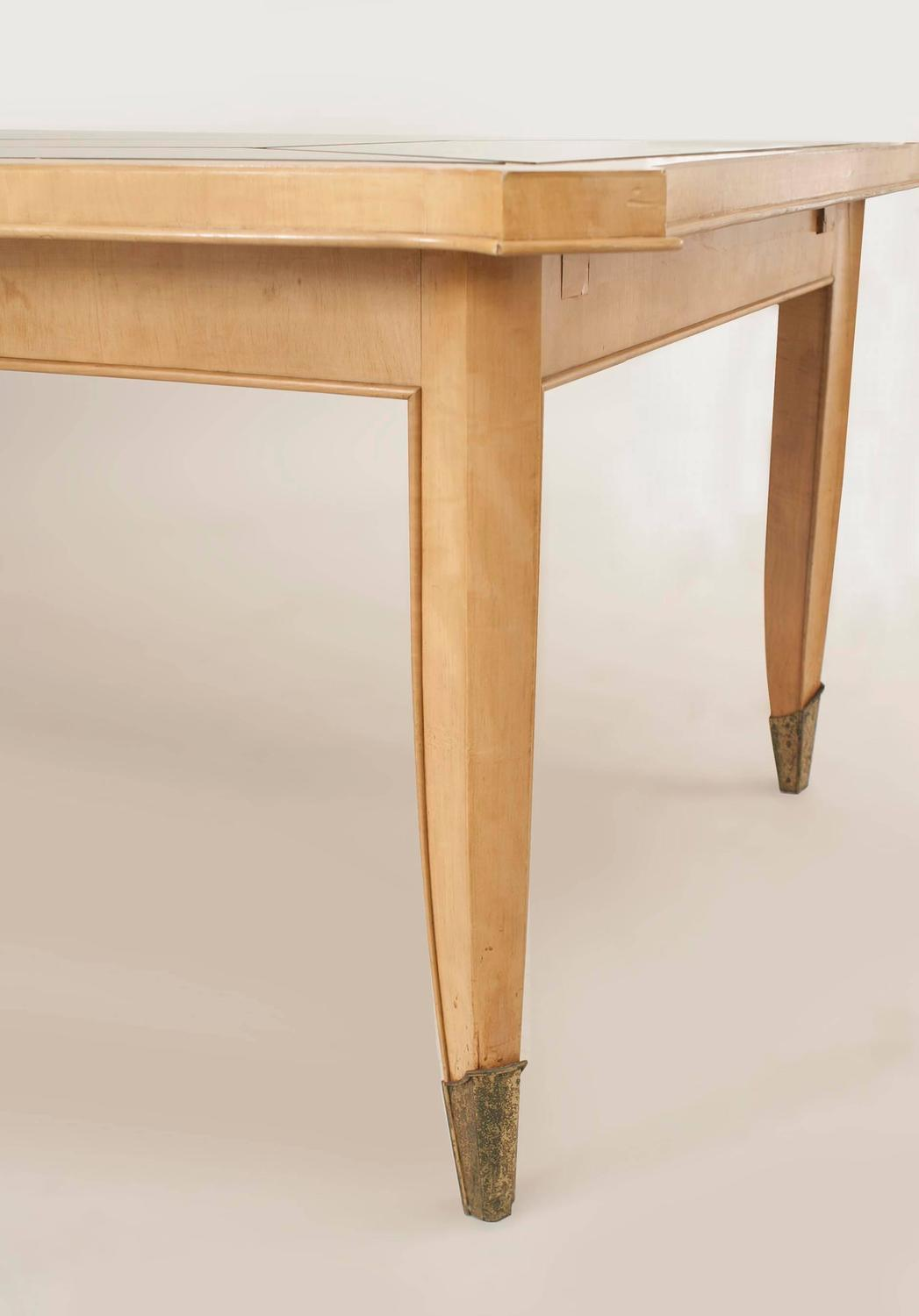 French Art Moderne Maple Rectangular Dining Table With
