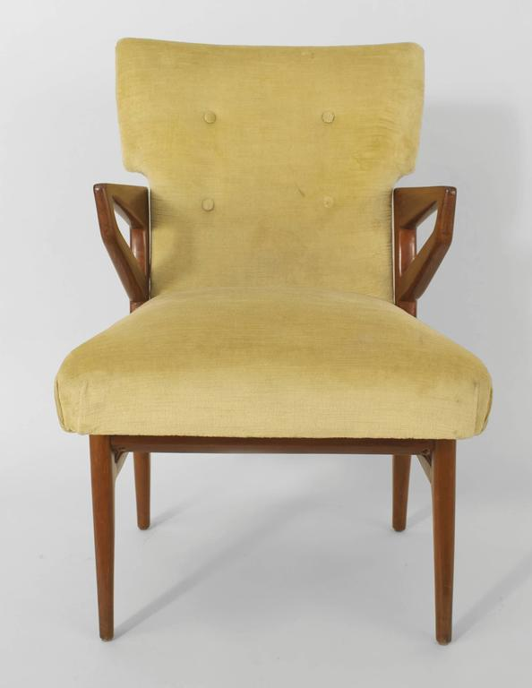 Mid-20th Century Set of Eight Italian 1940s Mahogany Dining Chairs For Sale
