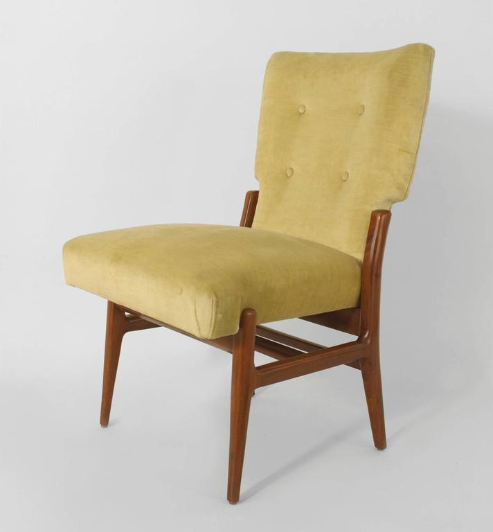 Mid-Century Modern Set of Eight Italian 1940s Mahogany Dining Chairs For Sale