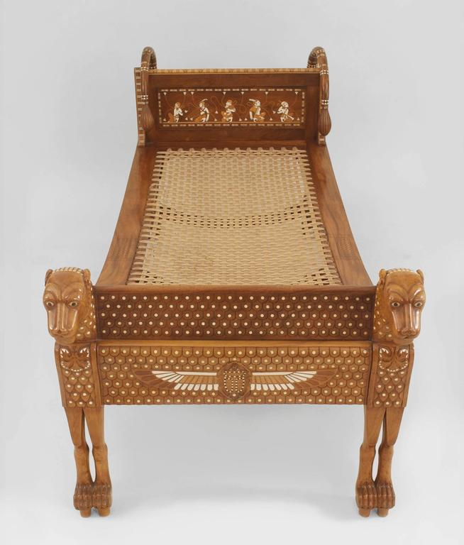 English Egyptian Revival Style Walnut Daybed/Recamier 2