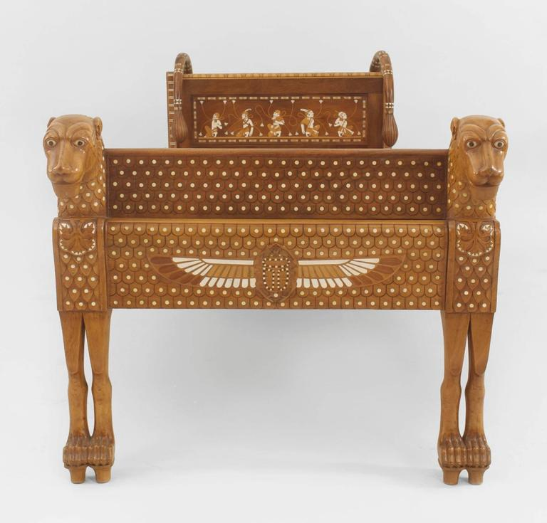 English Egyptian Revival Style Walnut Daybed/Recamier 3