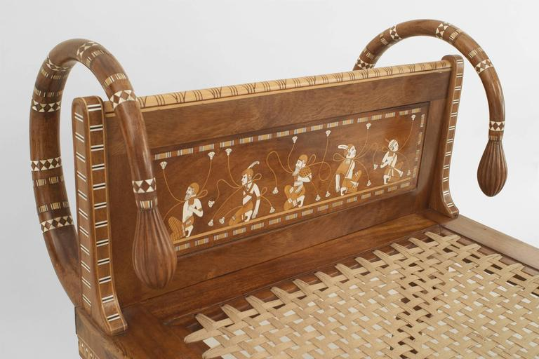 English Egyptian Revival Style Walnut Daybed/Recamier 4