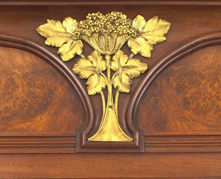 French Art Nouveau Walnut Beveled Glass Wall Mirror by Majorelle For ...