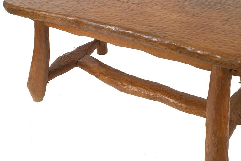 Rustic Adirondack style (French 1940s) chipped pine rectangular dining table with a stretcher.