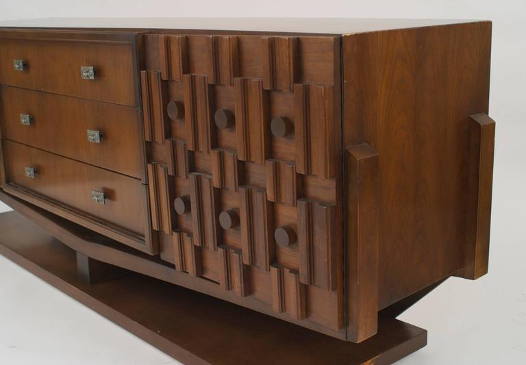 American 1970s Brutalist Style Walnut Dresser In Good Condition For Sale In  New York, NY