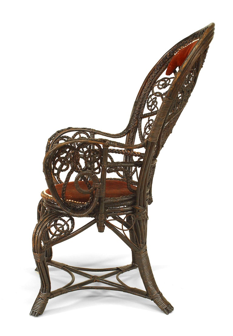 Pair of 19th c. Filigree Wicker And Velvet Fan Back Arm Chairs, By Colt In Good Condition For Sale In New York, NY