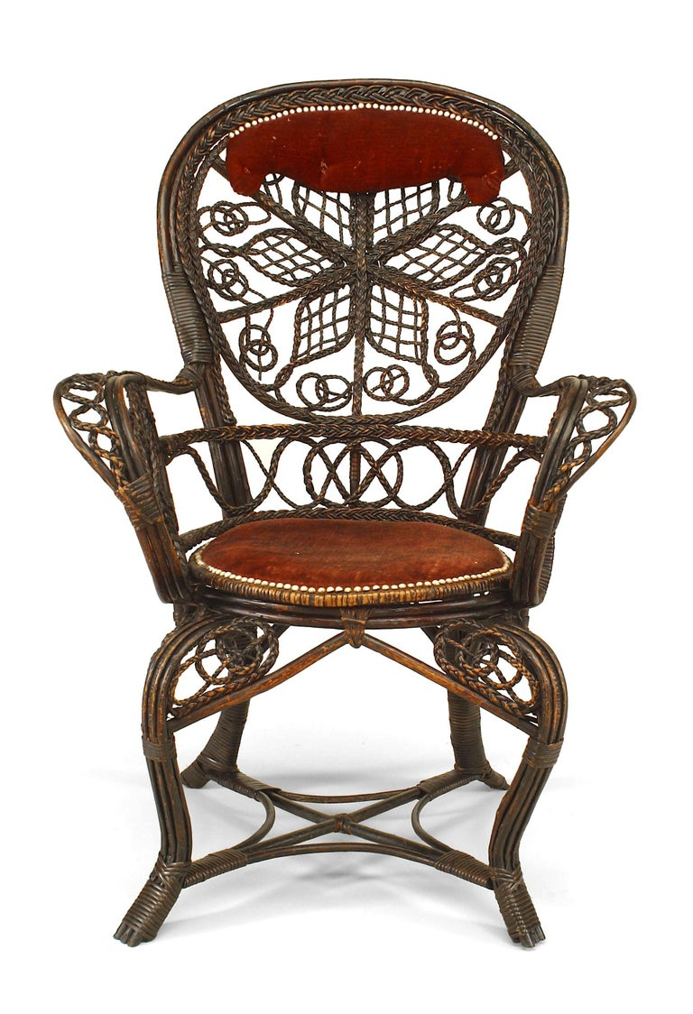 American Pair of 19th c. Filigree Wicker And Velvet Fan Back Arm Chairs, By Colt For Sale