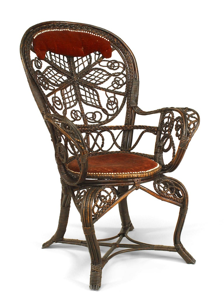 Victorian Pair of 19th c. Filigree Wicker And Velvet Fan Back Arm Chairs, By Colt For Sale