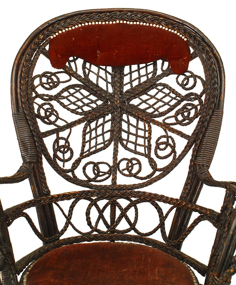 Pair of 19th c. Filigree Wicker And Velvet Fan Back Arm Chairs, By Colt For Sale 1