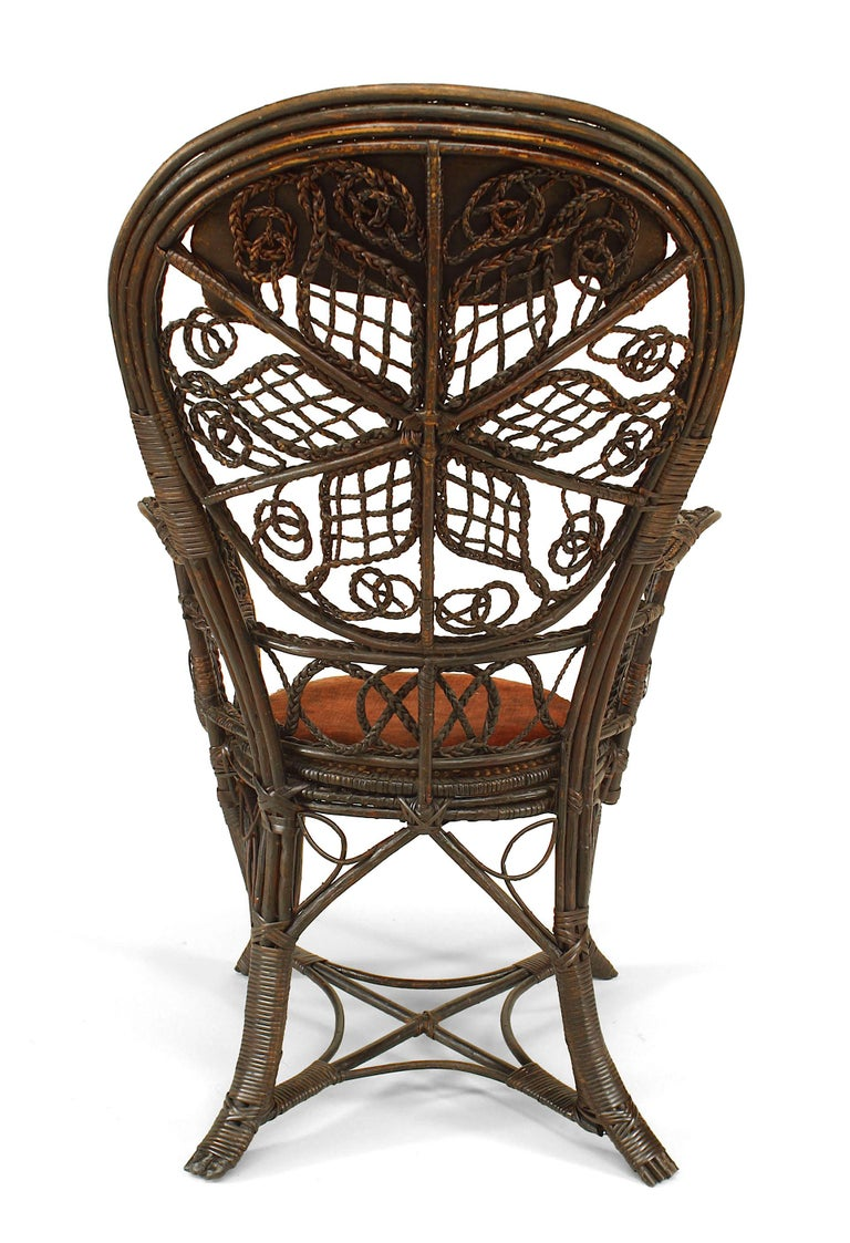 19th Century Pair of 19th c. Filigree Wicker And Velvet Fan Back Arm Chairs, By Colt For Sale