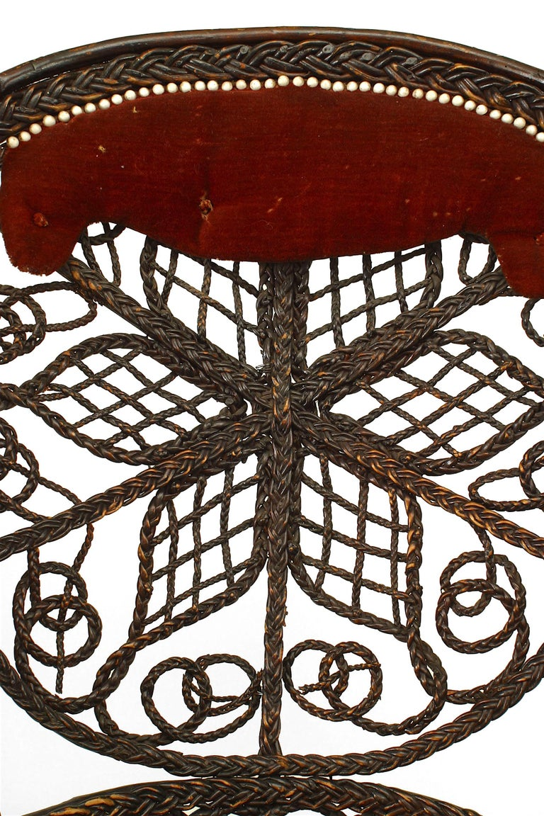 Pair of 19th c. Filigree Wicker And Velvet Fan Back Arm Chairs, By Colt For Sale 2