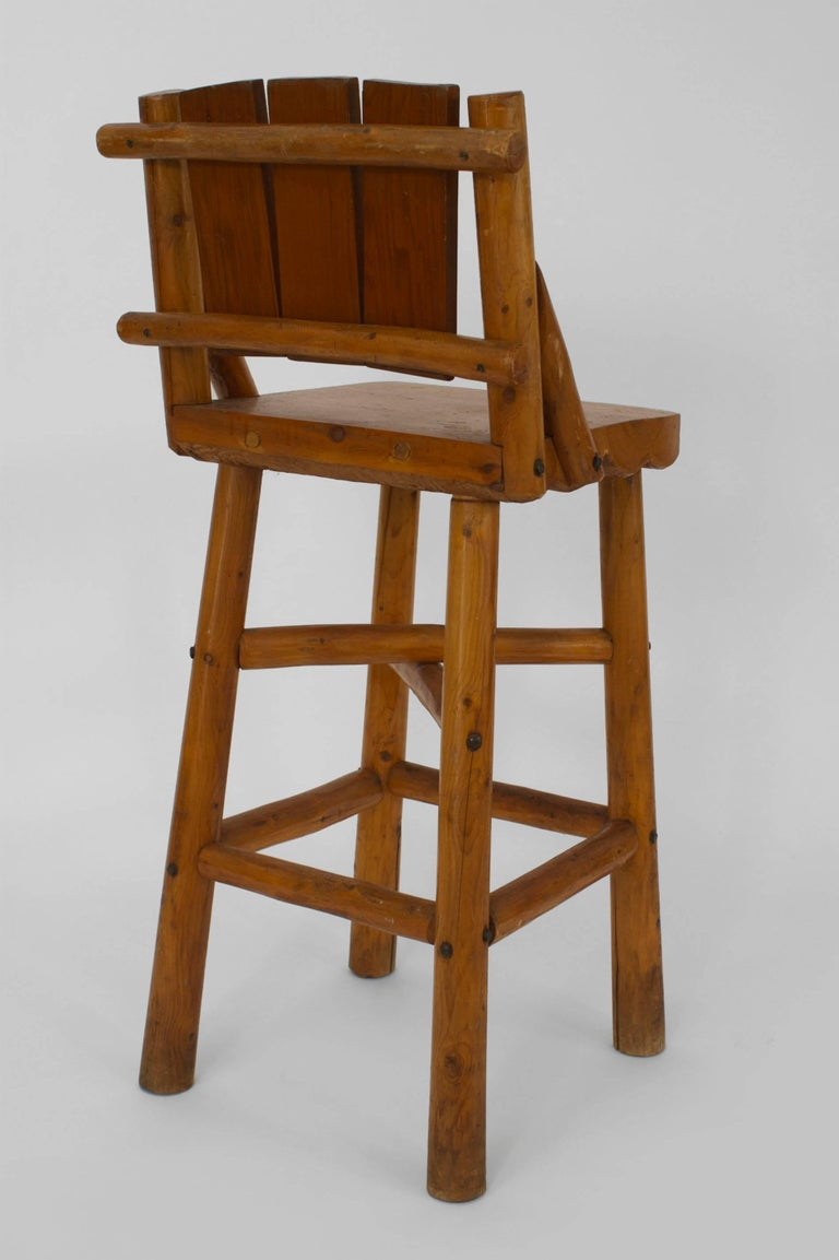 Set Of Four Old Hickory Pine Bar Stools By Rittenhouse For