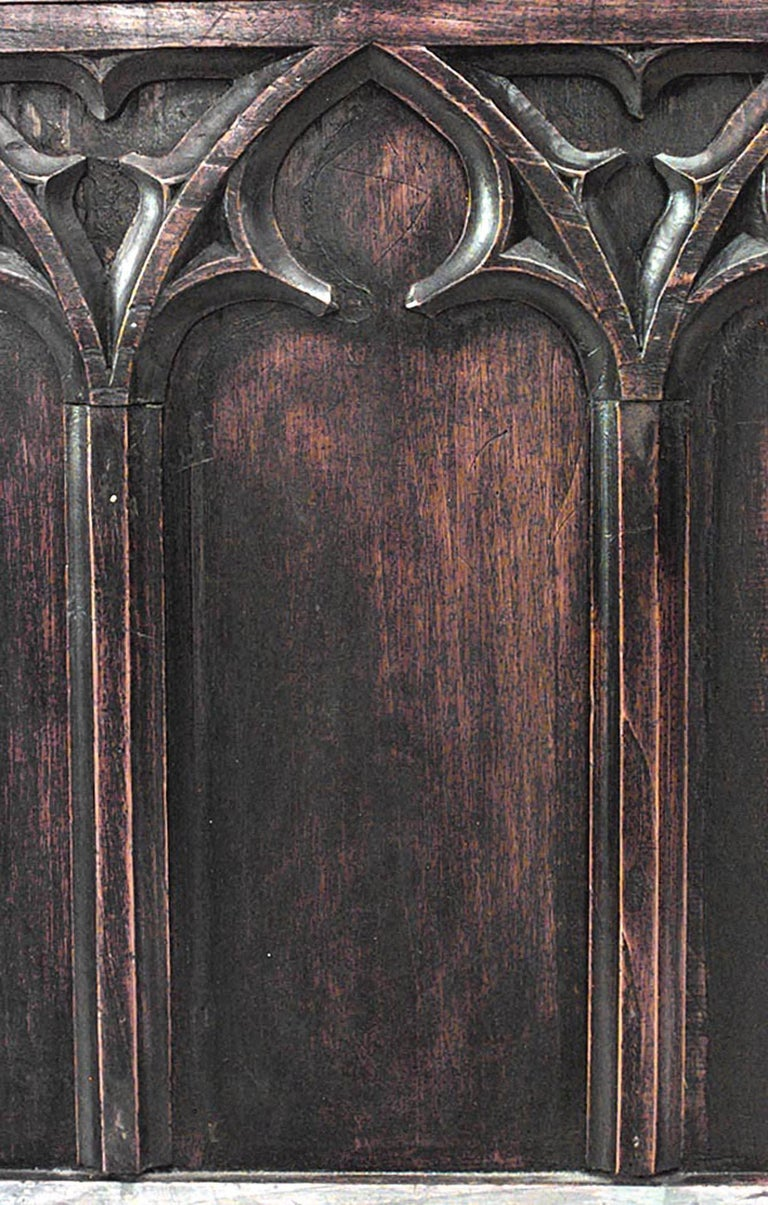 19th C. Gothic Revival Full Size Walnut Bed For Sale 5