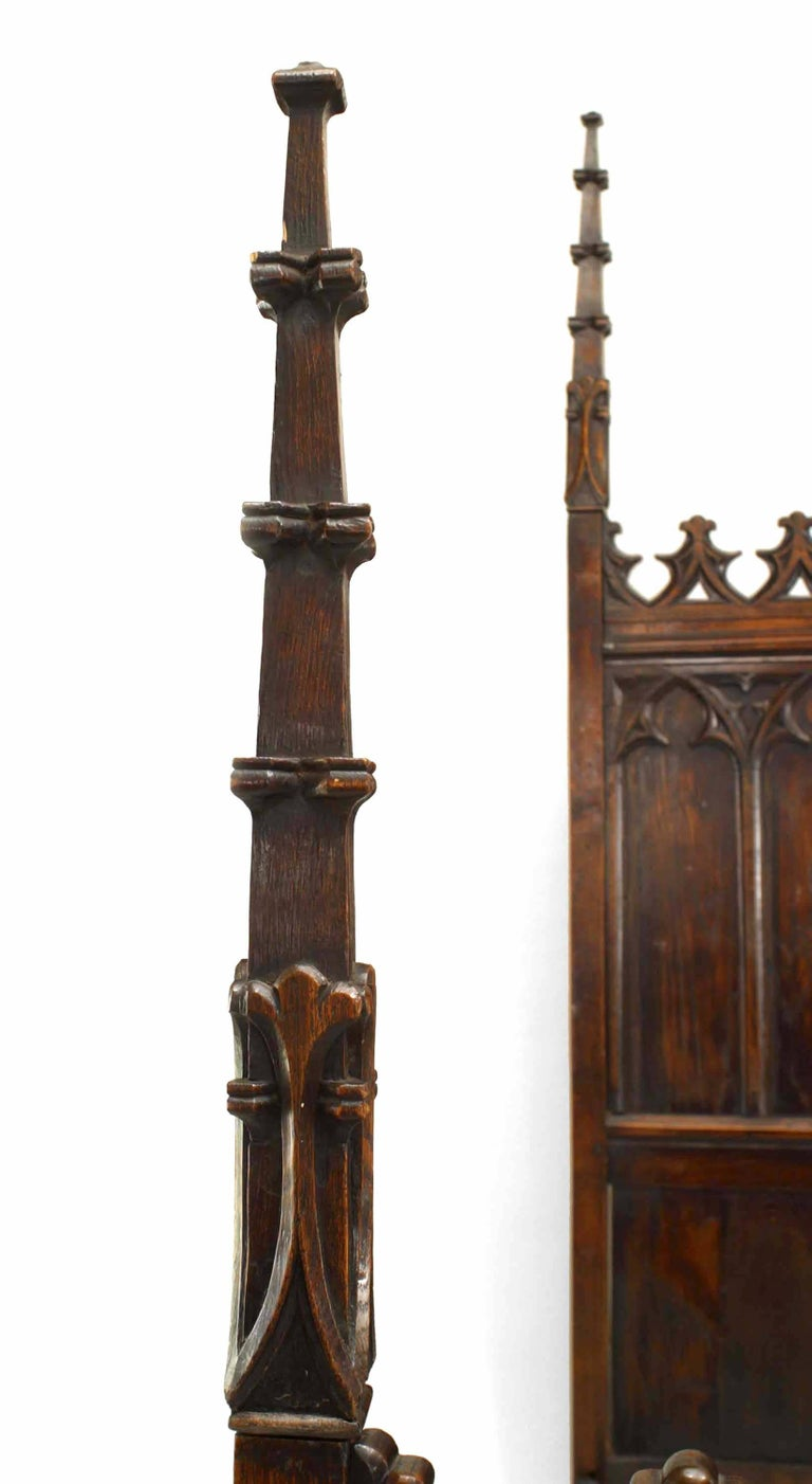 19th Century 19th C. Gothic Revival Full Size Walnut Bed For Sale