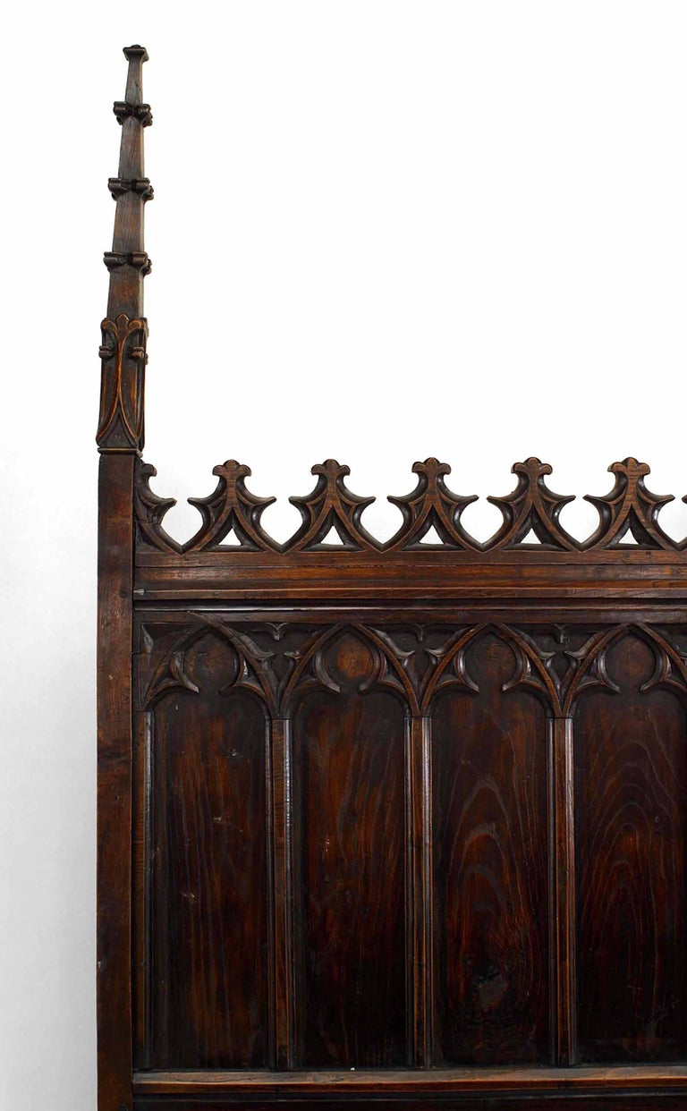 19th C. Gothic Revival Full Size Walnut Bed In Good Condition For Sale In New York, NY
