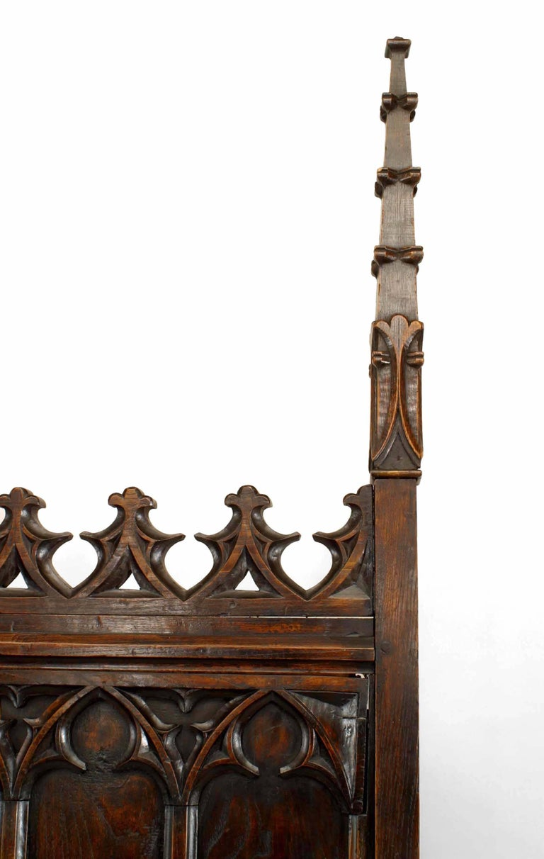 19th C. Gothic Revival Full Size Walnut Bed For Sale 1