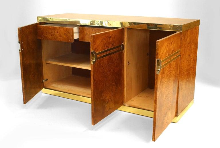 Mid-Century Modern 1970's Pierre Cardin Burl Walnut And Brass Buffet For Sale