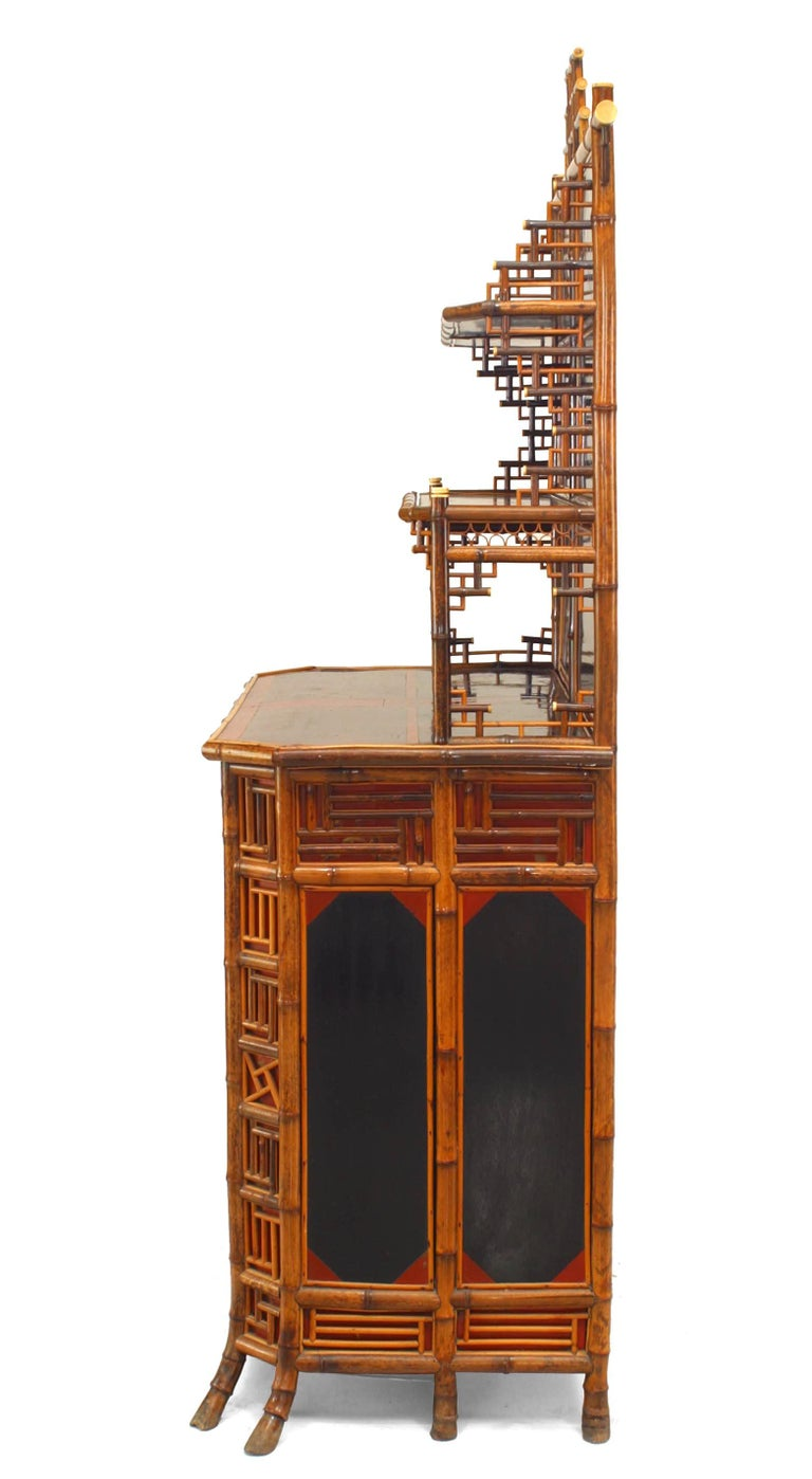 19th Century 19th c. English Regency Bamboo Etagere Cabinet For Sale
