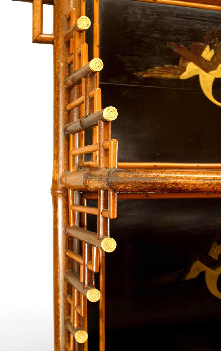 19th c. English Regency Bamboo Etagere Cabinet For Sale 1
