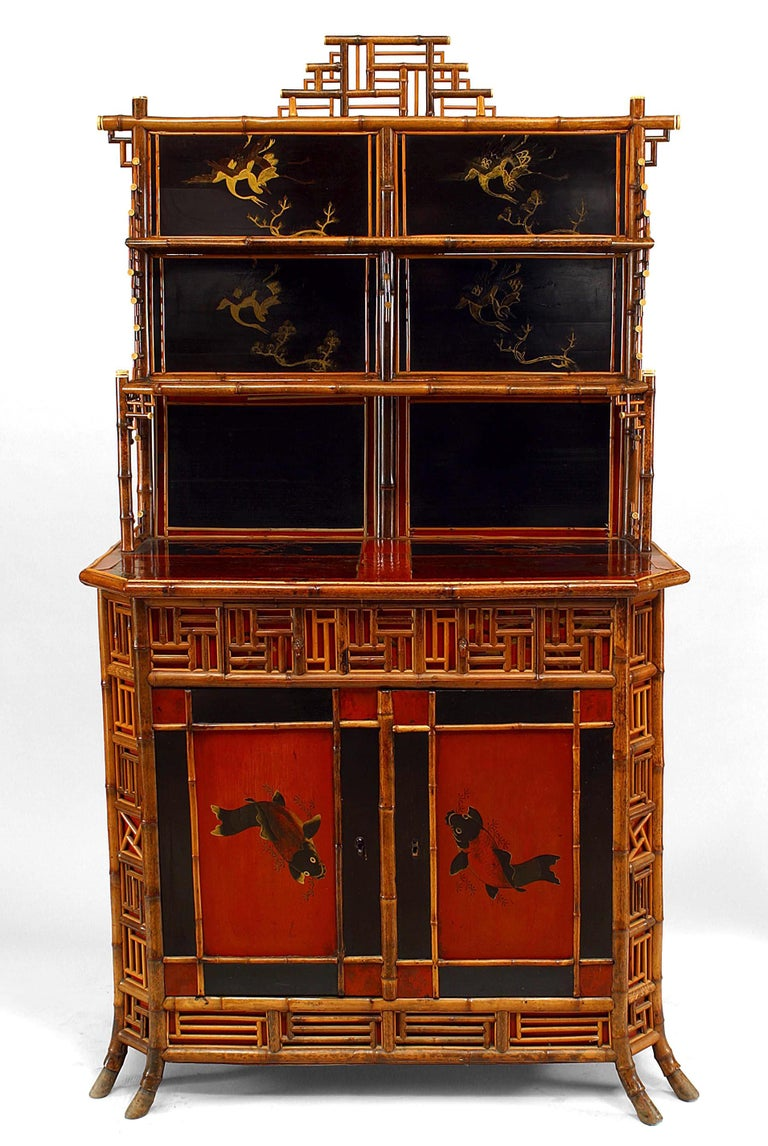 19th c. English Regency Bamboo Etagere Cabinet In Good Condition For Sale In New York, NY