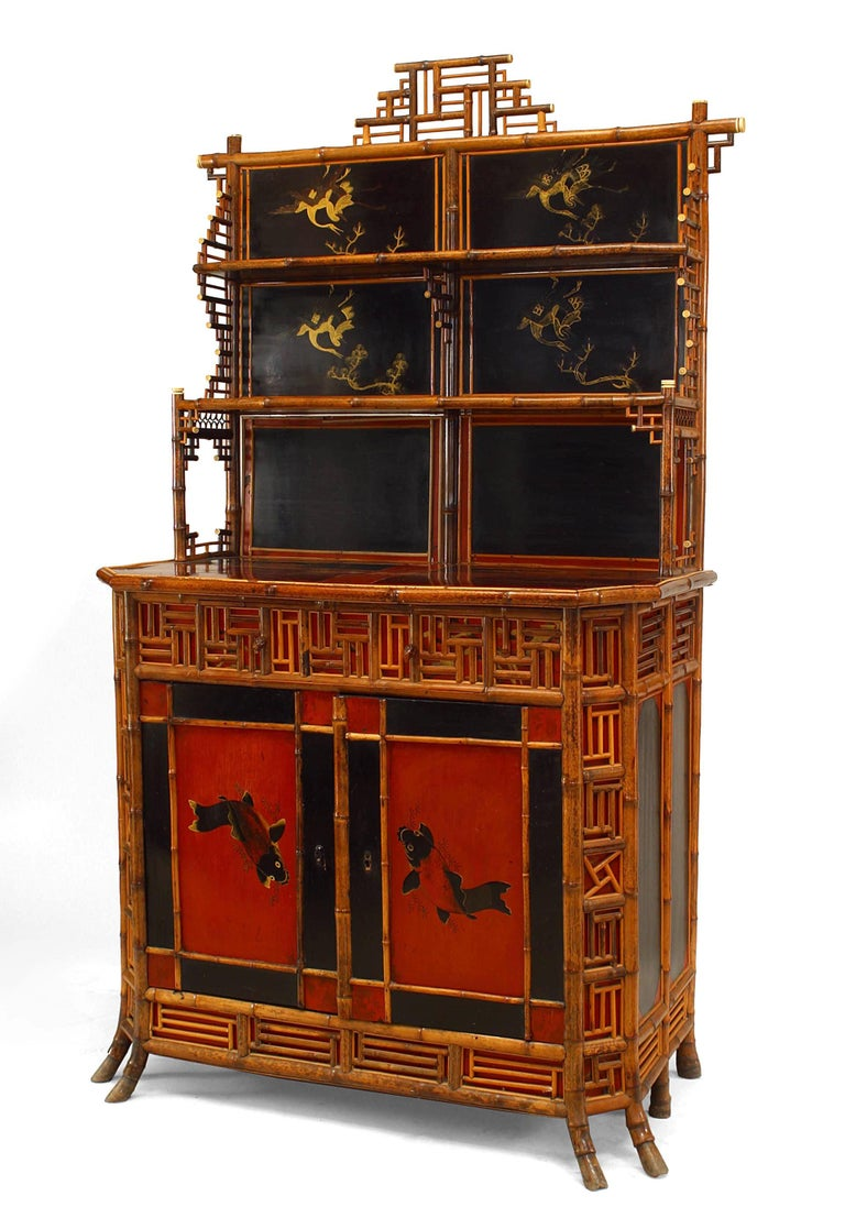 Nineteenth century English Regency bamboo etagere cabinet with inlaid panels, two red and black lacquered front doors, and bone detailing.