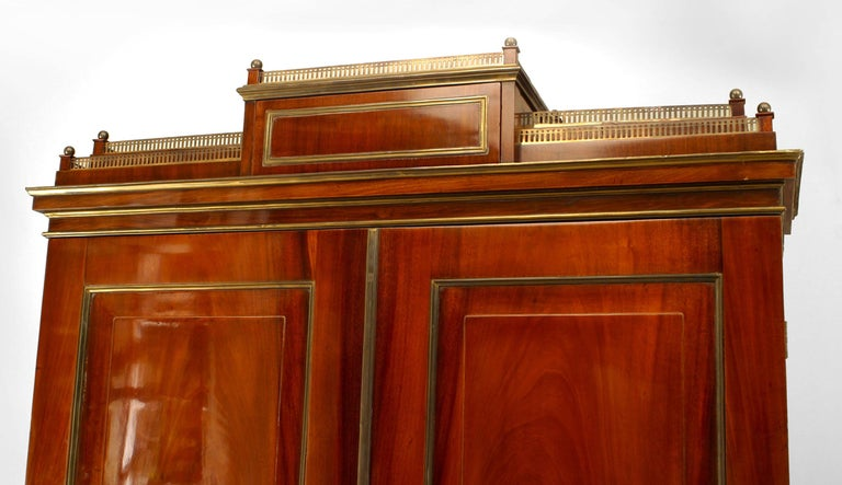 18th c. Russian Brass-Trimmed Mahogany Secretary Bookcase In Good Condition For Sale In New York, NY