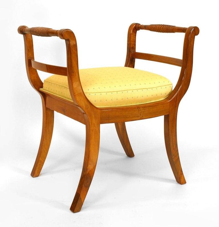 German Pair of Upholstered Walnut Biedermeier Benches c. 1820 For Sale