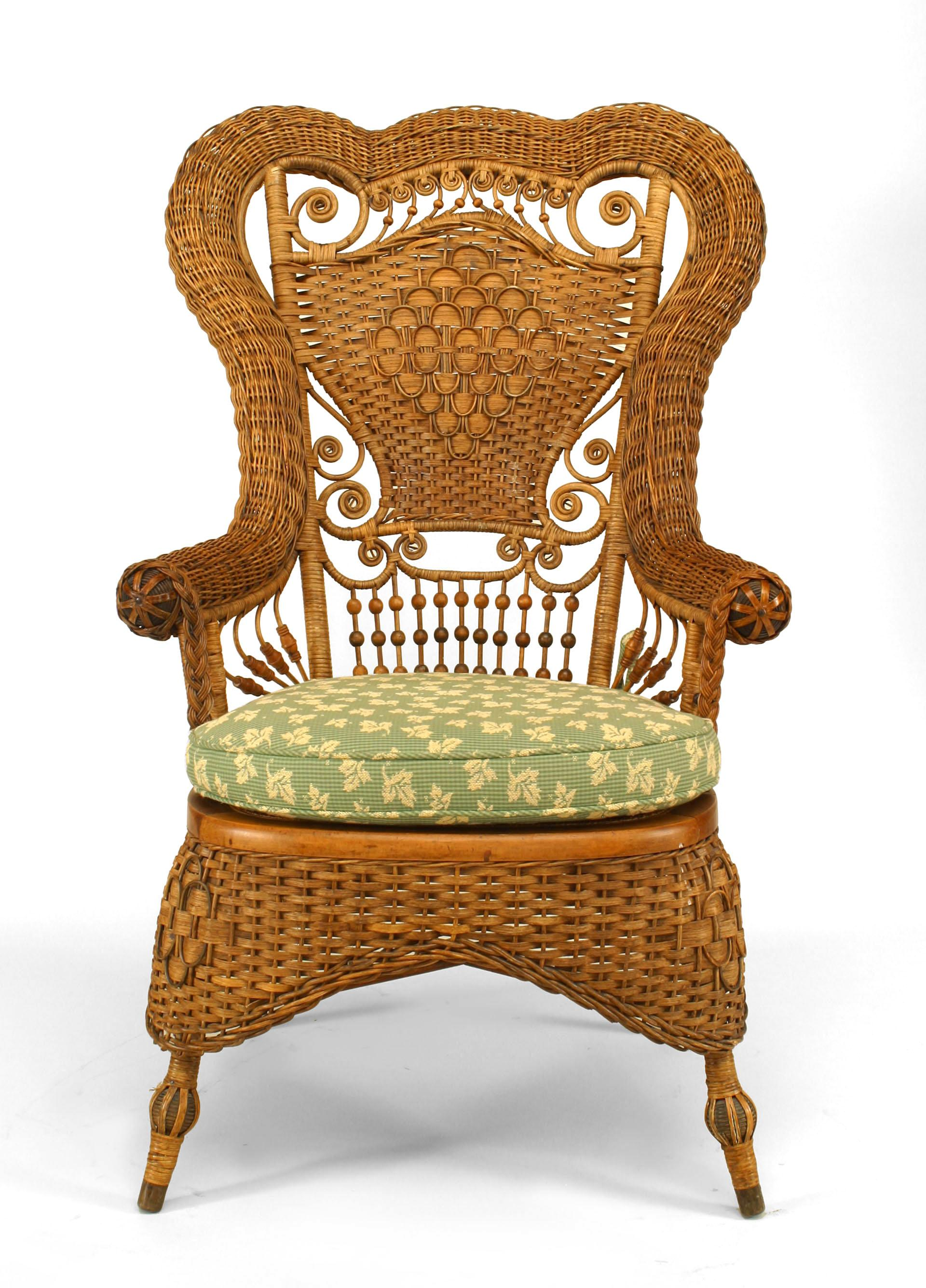 Superieur Whitney Reed High Back Wicker Armchair For Sale
