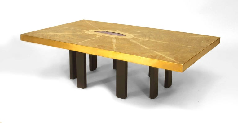 Post-Modern Agate and Etched Bronze Table, by Georges Mathias For Sale