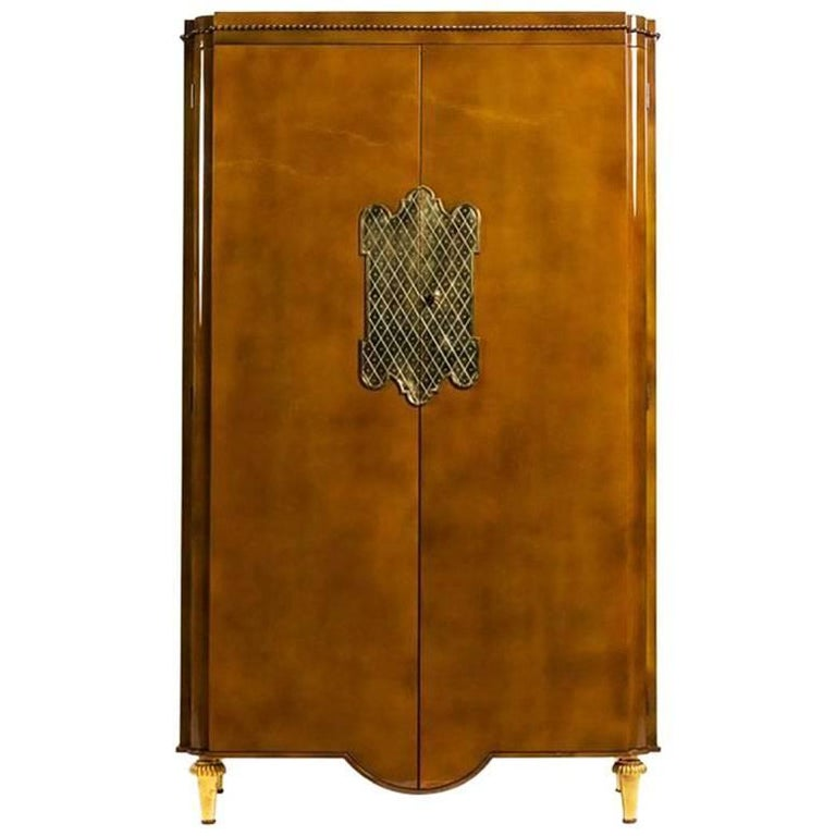 André Arbus and Gilbert Poillerat armoire, 1940s, offered by Newel