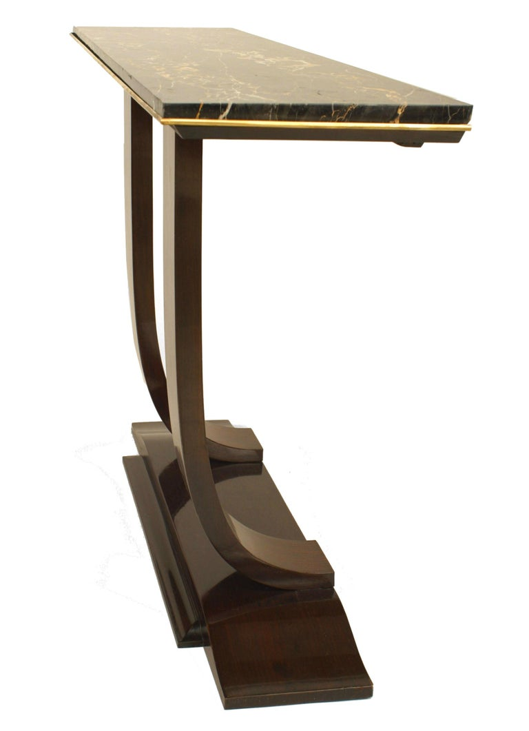 Art Deco Rosewood and Marble Console, Attrib. to Leleu For Sale