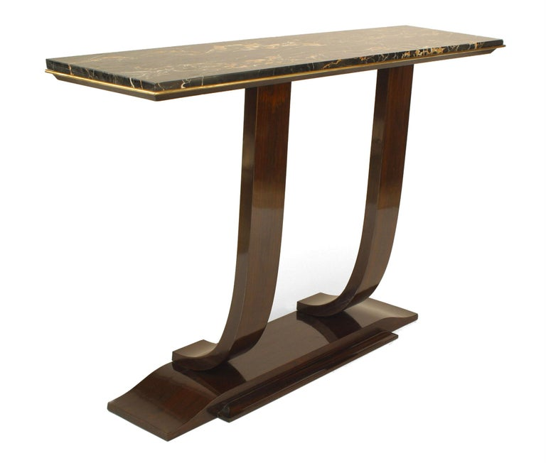 French Rosewood and Marble Console, Attrib. to Leleu For Sale