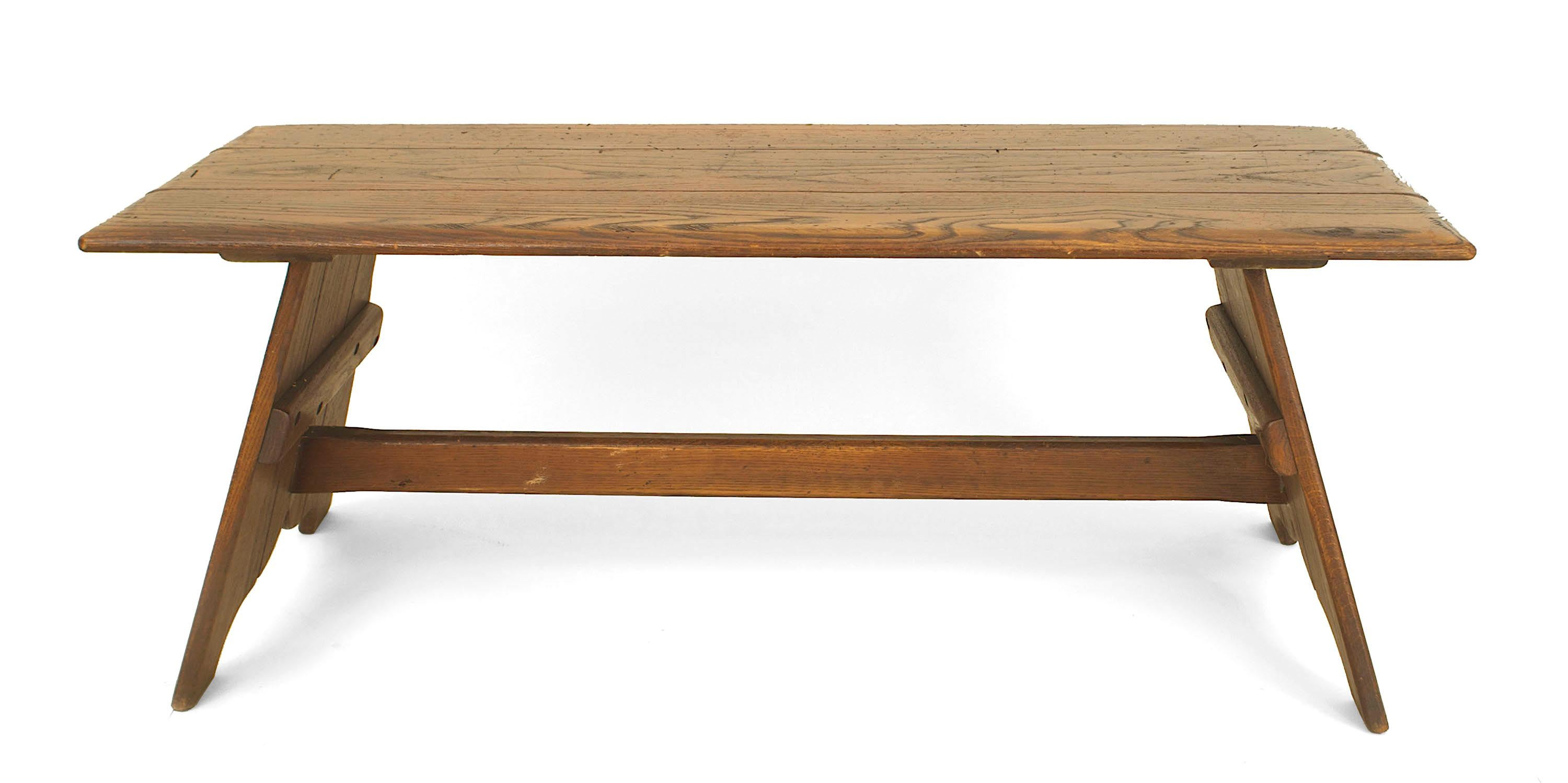 American Rustic Old Hickory Mission Style Rectangular Coffee Table Having A  Pair Of Shaped Pedestal Base