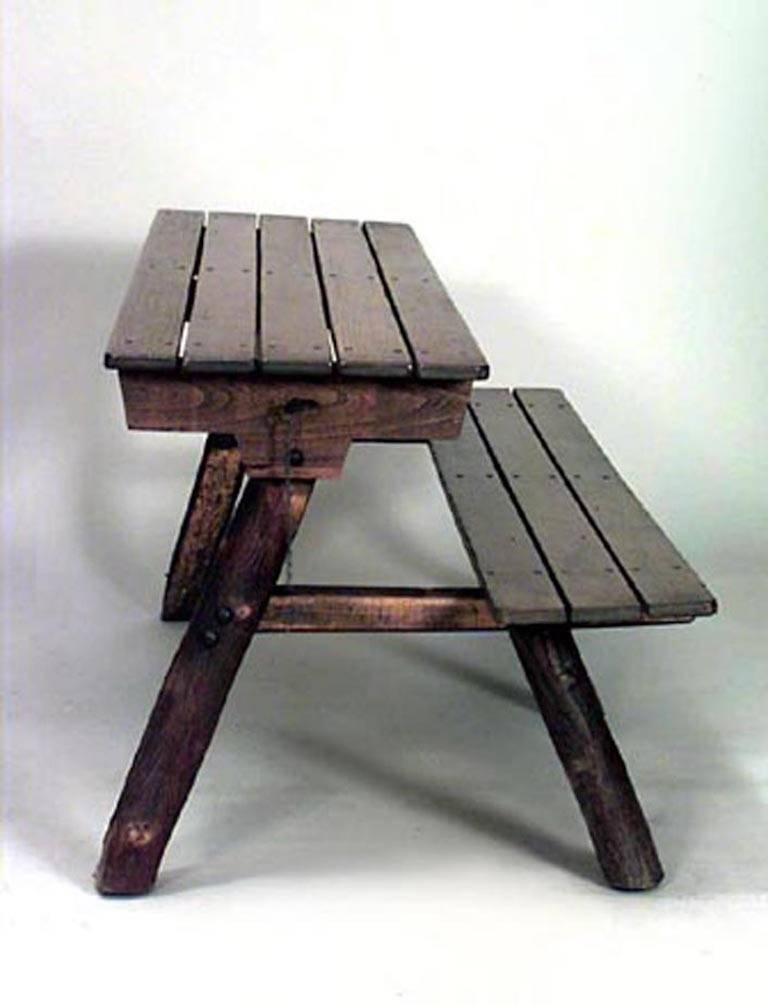 20th Century Pair of American Rustic Old Hickory Metamorphic Picnic Tables or Benches For Sale