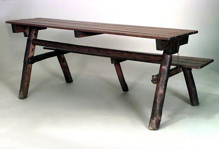 Walnut Pair of American Rustic Old Hickory Metamorphic Picnic Tables or Benches For Sale