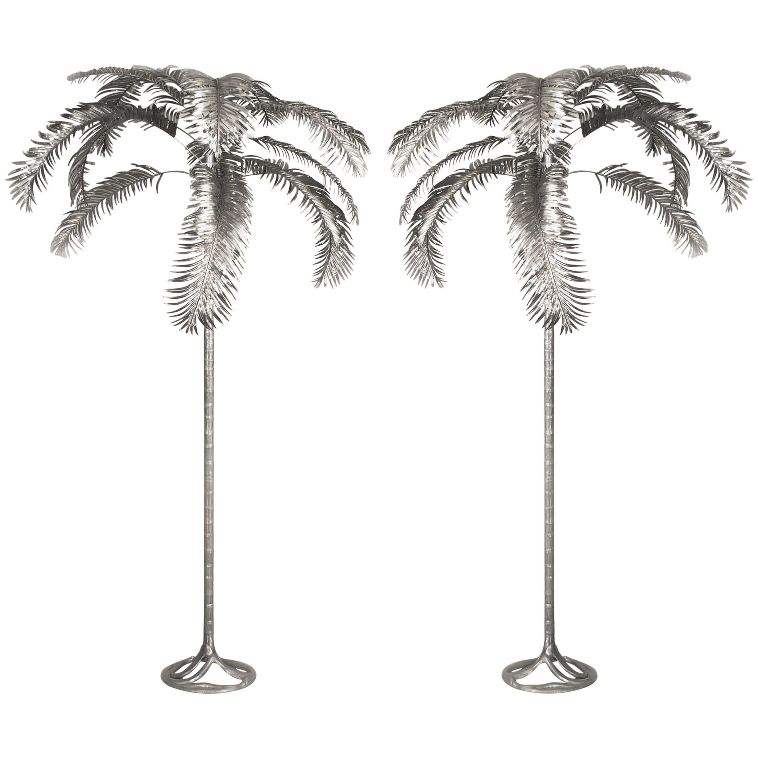 Pair of Monumental Aluminum Palm Trees by Arthur Court