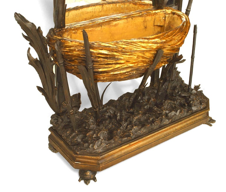 Unusual 19th c. French Gilt Carved Cheval Mirror For Sale 1