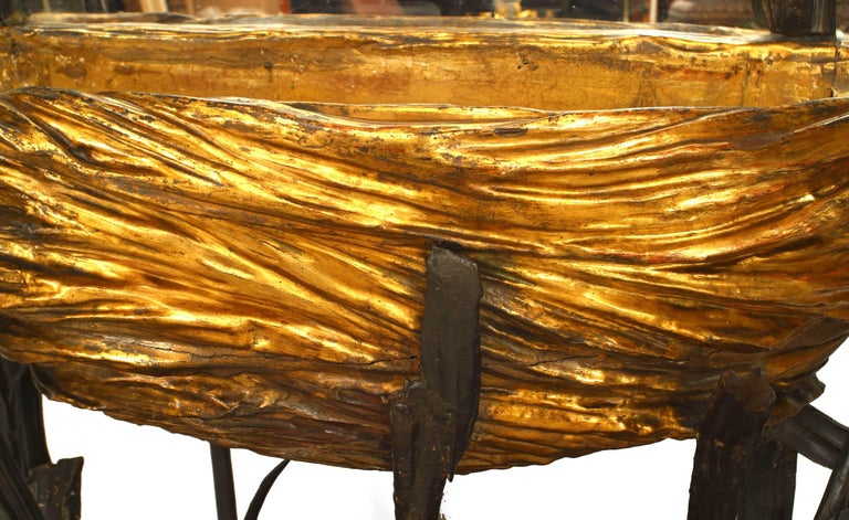 19th Century Unusual 19th c. French Gilt Carved Cheval Mirror For Sale