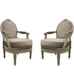 Pair of Italian Piedmontese Open Armchairs