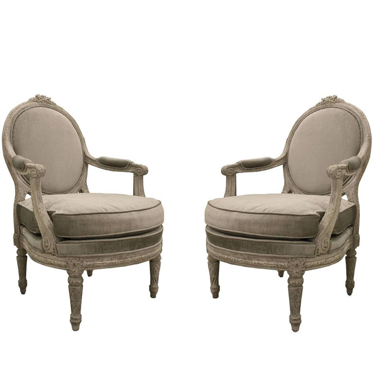 Pair of Italian Piedmontese Open Armchairs For Sale