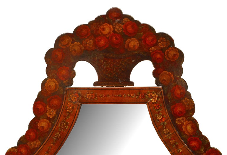 19th c. English Sheraton Decorated Cheval Mirror For Sale 1