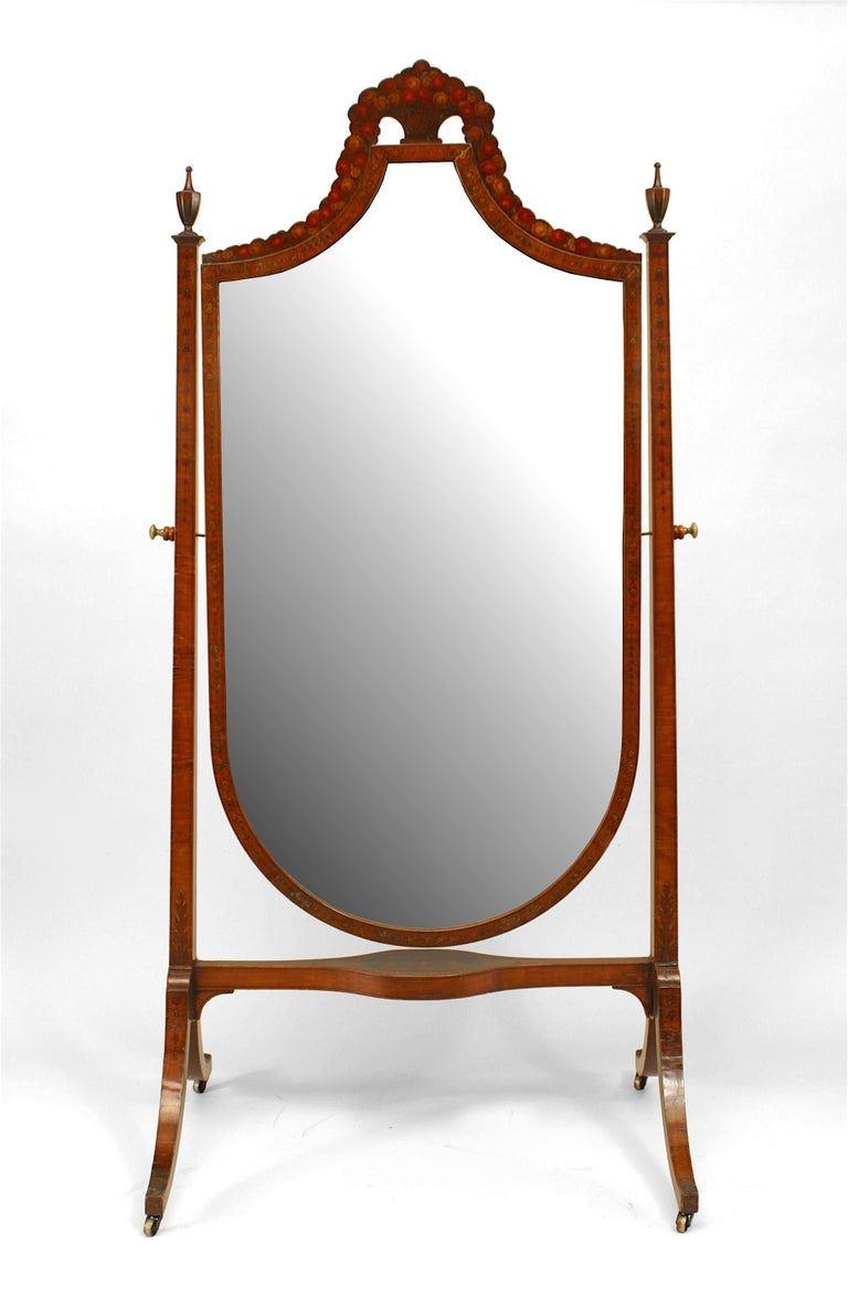 19th c. English Sheraton Decorated Cheval Mirror In Good Condition For Sale In New York, NY