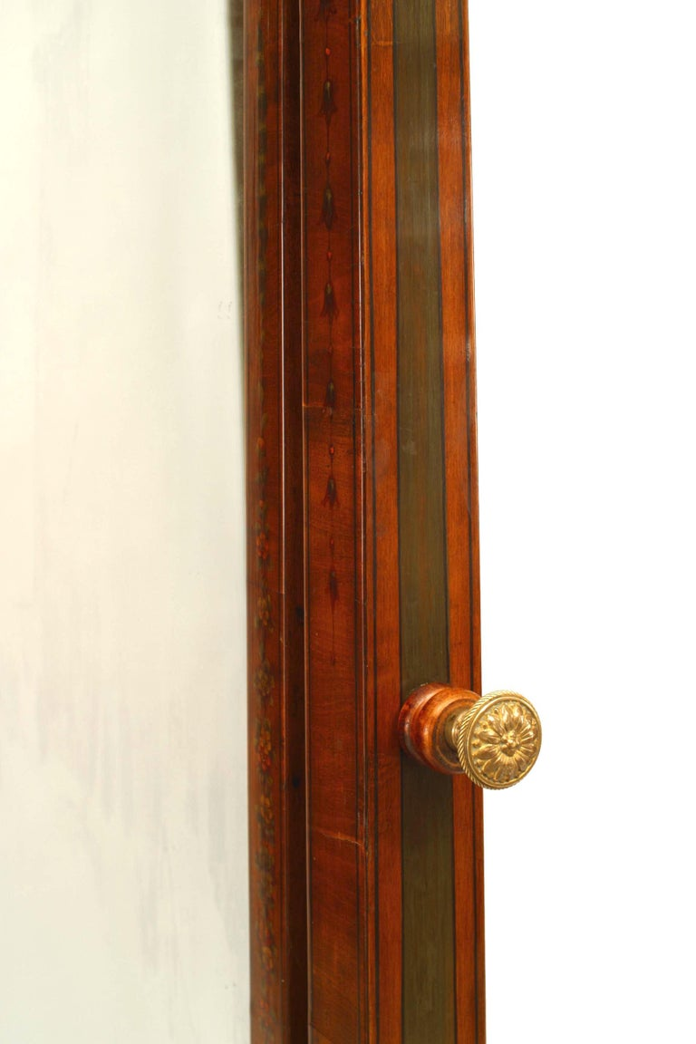 19th c. English Sheraton Decorated Cheval Mirror For Sale 3