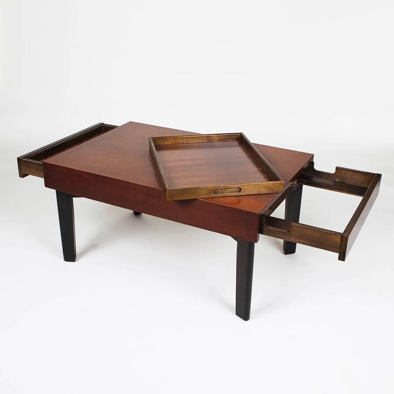 George nelson extension coffee table with trays by herman for Coffee table extension