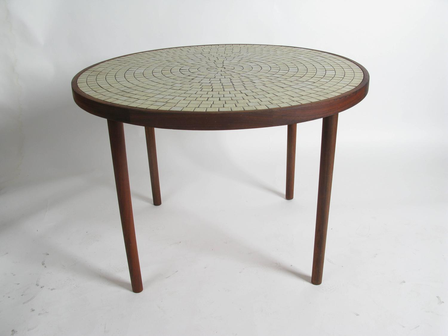 walnut and ceramic tile dining table by gordon martz for