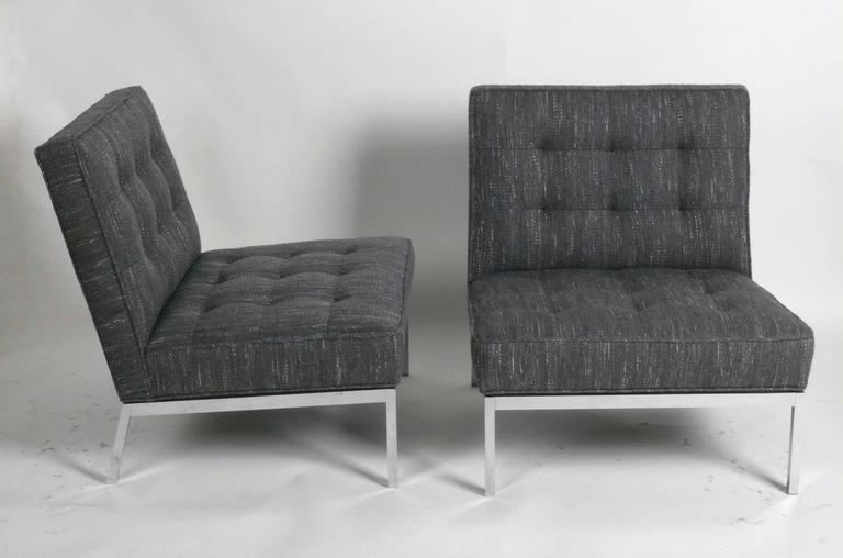 1960s Pair Of Florence Knoll Chrome Lounge Chairs Knoll
