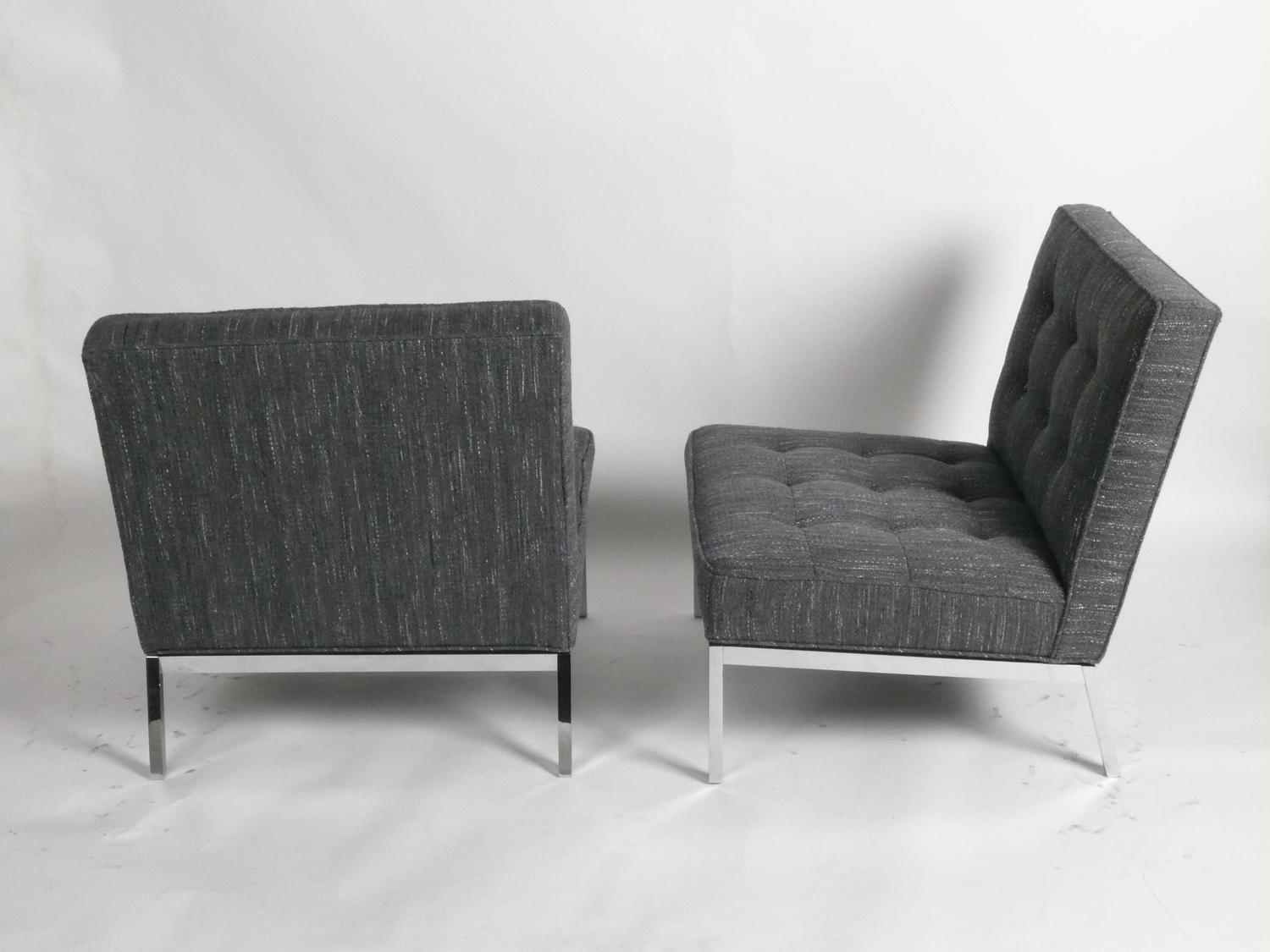 1960s pair of florence knoll chrome lounge chairs knoll for Knoll and associates