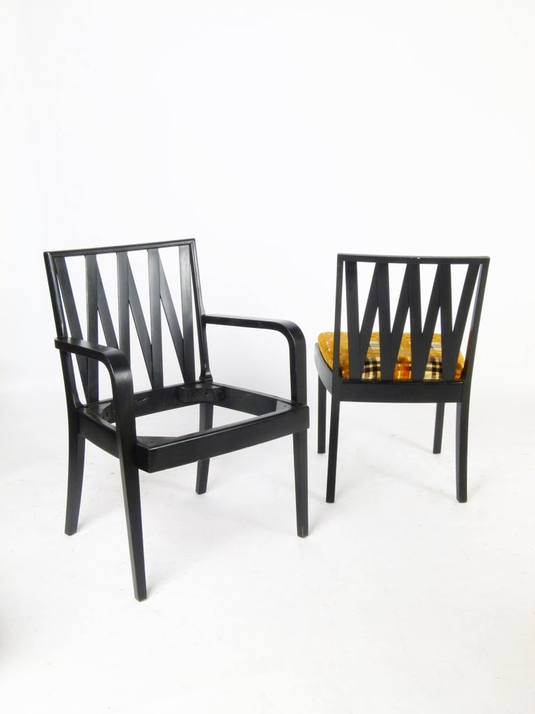 Paul frankl dining suite including table four chairs and for Dining table and hutch set