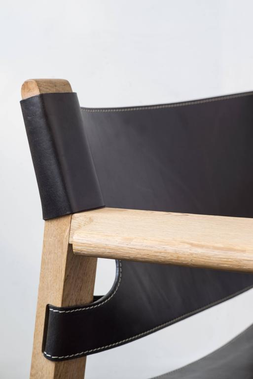 Danish Black Leather Spanish Chair by Børge Mogensen For Sale